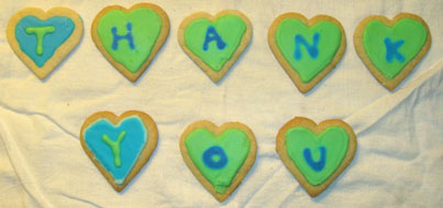 Cookies spelling out the words Thank You!