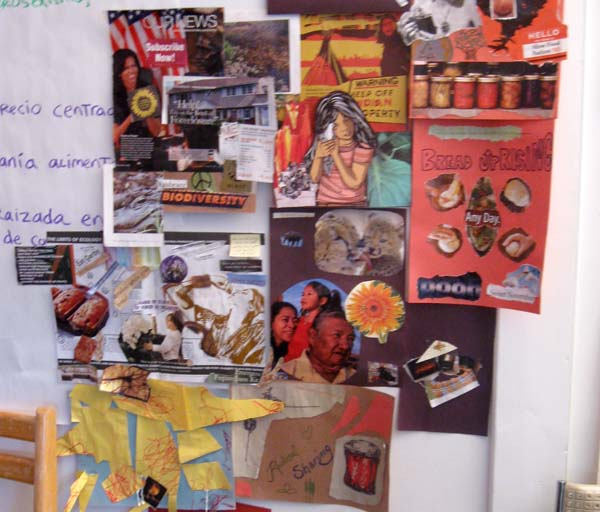 Photo of collages made by bakery members at an assembly
